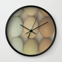 eggs Wall Clocks featuring Eggs by Pure Nature Photos