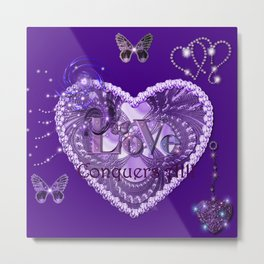 Love Conquers All - Purple Metal Print