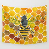 honeycomb Wall Tapestries featuring Bee & Honeycomb by Cat Coquillette