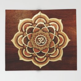 Patience and lucky of harmony mandala wood marquetry Throw Blanket