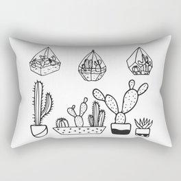 Cactus Garden Black and White Rectangular Pillow