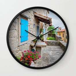 Town of Hum old cobbled street view Wall Clock