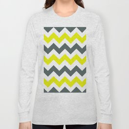 Chevron Pattern In Limelight Yellow Grey and White Long Sleeve T-shirt