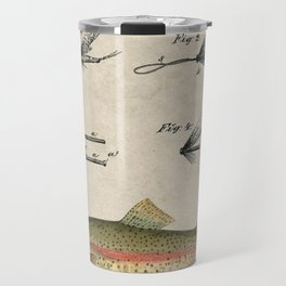 Vintage Rainbow Trout Fly Fishing Lure Patent Game Fish Identification Chart Travel Mug