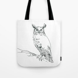 Perched Horned Owl Tote Bag