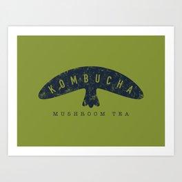 Kombucha Mushroom Tea // Moss Green and Blue Abstract Graphic Design Artwork Art Print