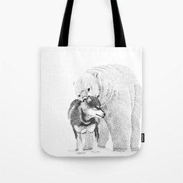 Eskimo dog and Polar bear pointillism illustration Tote Bag