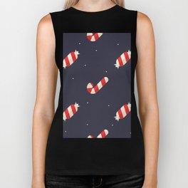 Red Christmas Peppermint Pattern Biker Tank