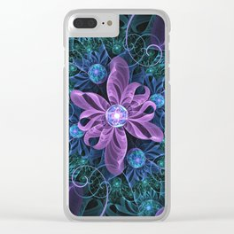 Bejeweled Butterfly Lily of Ultra-Violet Turquoise Clear iPhone Case