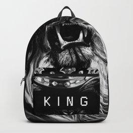 Lion, Lionart, King, Animal, Black,Minimal,Interior, Black White,Wall art, Art Print,Trendy decor Backpack