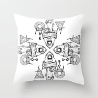 fight Throw Pillows featuring Fight by Benson Koo