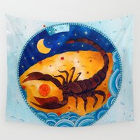 scorpio Wall Tapestries featuring Scorpio by Sandra Nascimento