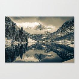 Falling Skies - Maroon Bells in Sepia - Aspen Colorado Canvas Print