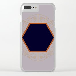 Monogram gold grey Clear iPhone Case