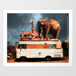 Barnum and Baileys Fabulous Road Trip Vacation Across The USA Circa 2013 5D22705 with text Art Print