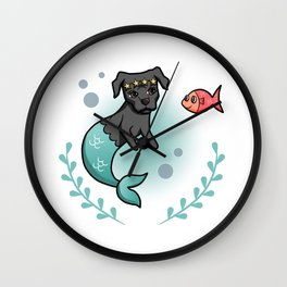 Mermaid Princess Pit Bull Dog with Little Fish Friend Wall Clock