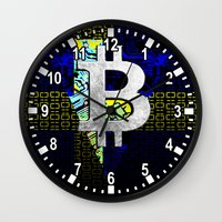 sweden Wall Clocks featuring bitcoin sweden by seb mcnulty