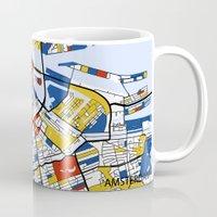 amsterdam Mugs featuring Amsterdam by Mondrian Maps
