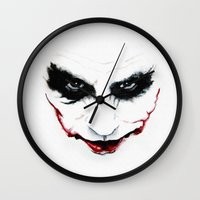 joker Wall Clocks featuring Joker by DirtyArt