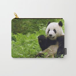 Exotic Super Dainty Grown Panda Bear Chewing On Bamboo Twig In Jungle Close Up Ultra High Res Carry-All Pouch