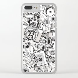 Camera Heart - on red Clear iPhone Case