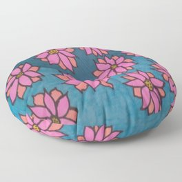 Pink and Blue Dahlia Print Floor Pillow