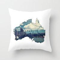 australia Throw Pillows featuring Australia by elysiancreations