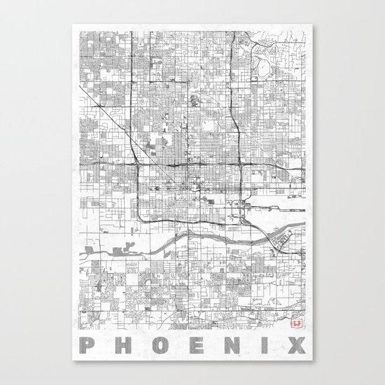 Phoenix City Map Line Canvas Print