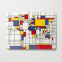 World Map Abstract Mondrian Style Metal Print