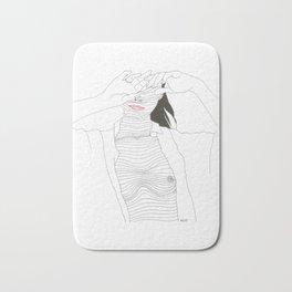line drawing of a beautiful muse Bath Mat