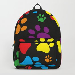 Colorful paw print black background Backpack