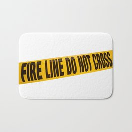 fire line tape on crime scene Bath Mat