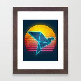 Neon Retro Synthwave Origami Framed Art Print