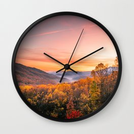 Autumn Sunrise in the Great Smoky Mountains of Tennessee Wall Clock