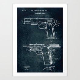 1910 - Firearm patent art Art Print
