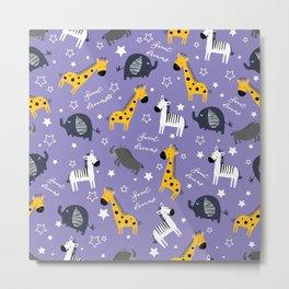 Sweet dreams little one zoo animals cute pattern purple Metal Print