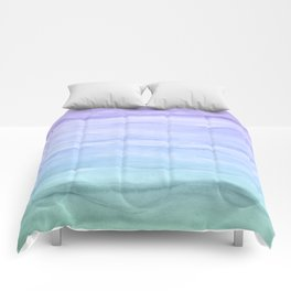 Layers Blue Ombre - Watercolor Abstract Comforters