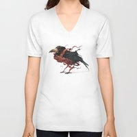 tapestry V-neck T-shirts featuring Tapestry Rook by Nick Sadek Illustration