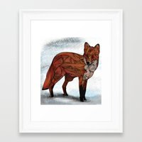 snow Framed Art Prints featuring Red Fox by Ben Geiger