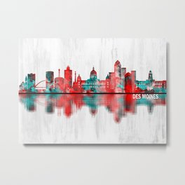 Des Moines Iowa Skyline Metal Print