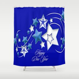 Teal and Blue Happy New Year Shooting Stars Shower Curtain