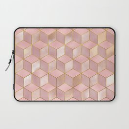 PINK CHAMPAGNE GRADIENT CUBE PATTERN (Gold Lined) Laptop Sleeve