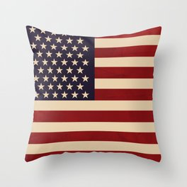 American Folk Flag Throw Pillow