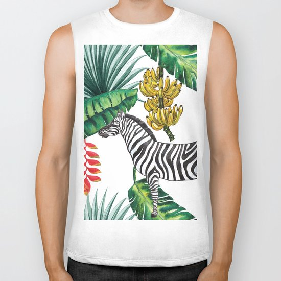 watercolor banana leaves with zebra Biker Tank