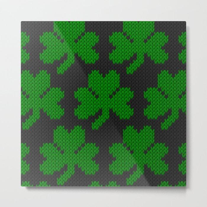 Shamrock pattern - black, green Metal Print