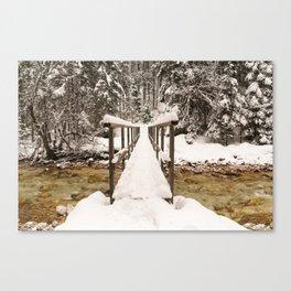Pericnik Falls Snowy Bridge Canvas Print