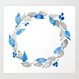 Blue and Gray Watercolor Leaf Wreath Art Print