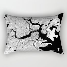 Boston Black and White Map Rectangular Pillow