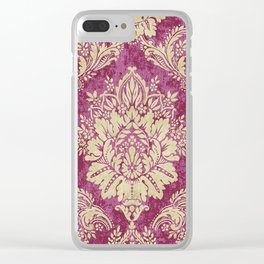 Red Cream Velvet Paisley Floral Clear iPhone Case
