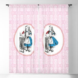 Alice in Wonderland | Drink Me Bottle | Pink Damask Pattern | Blackout Curtain